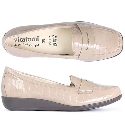 VITAFORM Damen-Slipper Leder/Stretch Krokolack-Optik Shock Absorber
