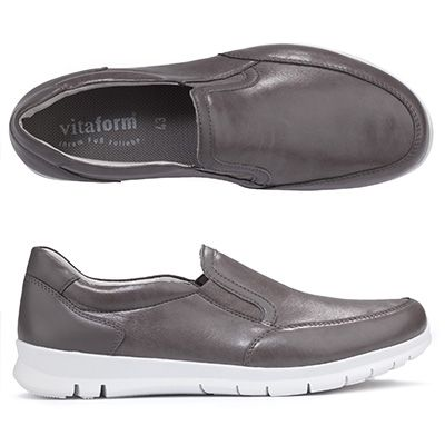 VITAFORM ACTIVE Herren-Slipper Leder/Stretch Gummizüge Flexsohle