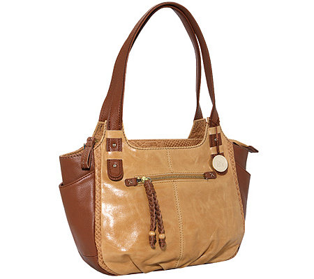 THE SAK Shopper echt Leder Reptil-Details Flecht-Zipper