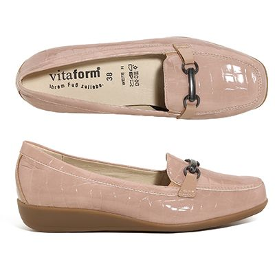VITAFORM Damen-Slipper Leder/ Stretch Krokolack Schmucktrense