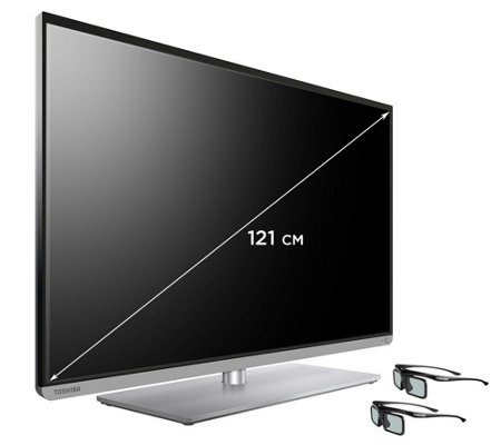 TOSHIBA 121cm 3D Smart TV Full HD, 200Hz Dreifach Tuner, USB inkl. 2x 3D Brillen