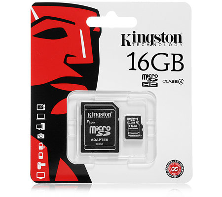 KINGSTON 16GB microSDHC Speicherkarte Class 4 inkl. Adapter