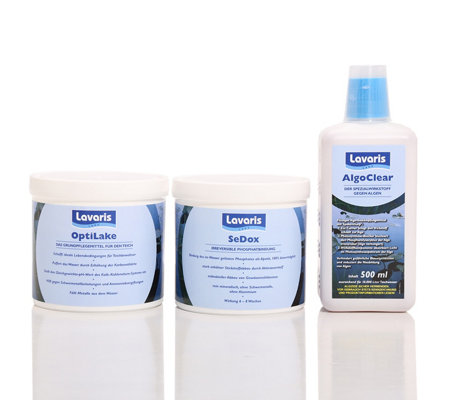 LAVARIS Teichpflege-Set Opti Lake, Sedox & Algo Clear 2x 500g + 500ml
