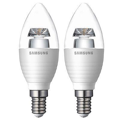 SAMSUNG LED-Leuchtmittel Form: Kerze 3,2W / Fassung: E14 2 Stück