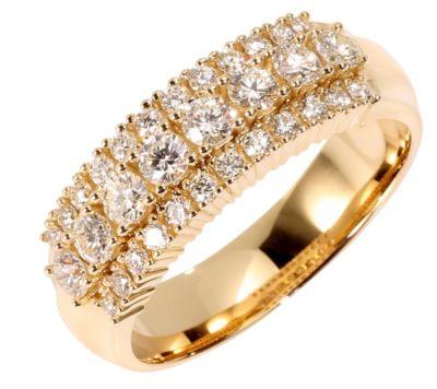 32 Brillanten zus.ca.0,75ct. Weiß/lupenrein Ring Gold 585