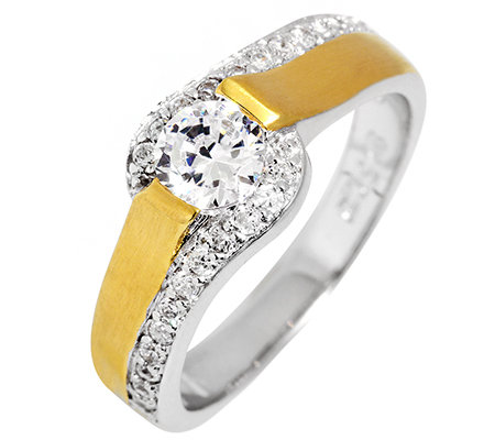 DIAMONIQUE® = 0,74ct Brillantschliff Ring Silber bicolor