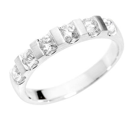 6 Brillanten zus.ca.0,50ct Weiß/SI2 Memoire-Ring Platin 950