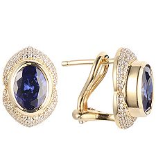 1st Class Tansanit AAA/2,50ct 124 Brill. 0,30ct Steckerclips Gold 750