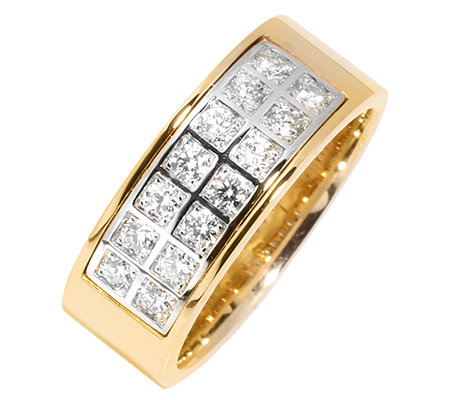 14 Brillanten zus.ca.0,50ct. Weiß/P1 Ring Gold 585