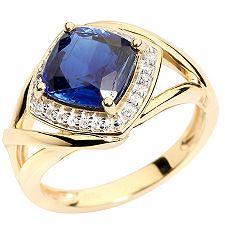 Kyanit aus Nepal Kissenschliff 2,00ct. Diamanten 0,14ct. Entourage-Ring Gold 375