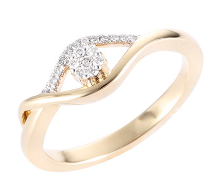 First Diamond 17 Brillanten zus.ca.0,08ct. Weiß/P1 Ring, Gold 375