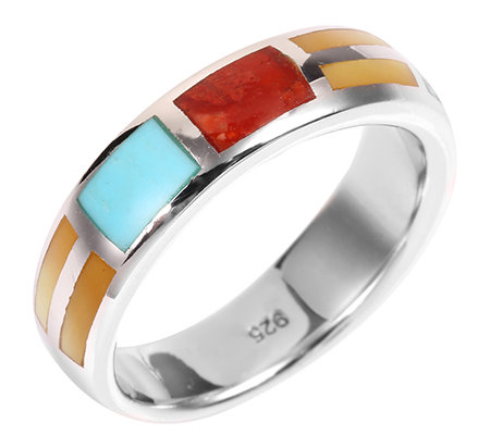 ONATAH Inlays multicolor Band-Ring Silber 925,rhodiniert