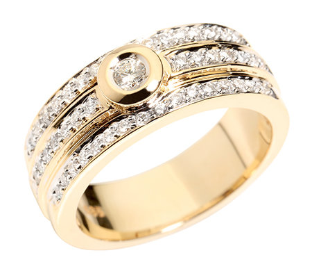 47 Brillanten zus.ca.0,45ct Weiß/lupenrein Cocktail-Ring Gold 585