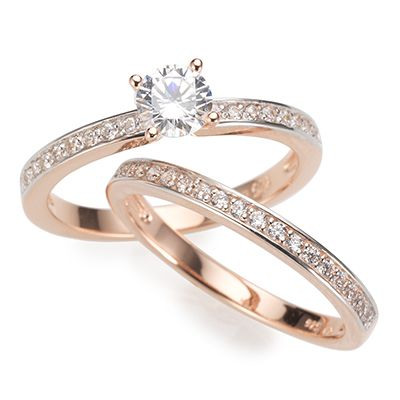 DIAMONIQUE® ROSÉVERGOLDET = 0,85ct 2tlg.Ring-Set Silber 925