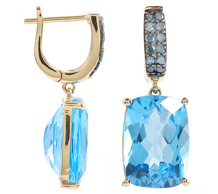 ITINGA Topas Swissblue 13,70ct 24 Dia. 0,32ct Ohrhänger Gold 375