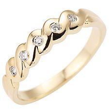 FIRST DIAMOND 5 Brillanten W/P1 zus.ca.0,10ct Ring Gold 375