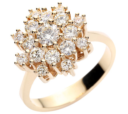 17 Brillanten zus.ca.1,25ct g.Weiß/lupenrein Cocktail-Ring Gold 585