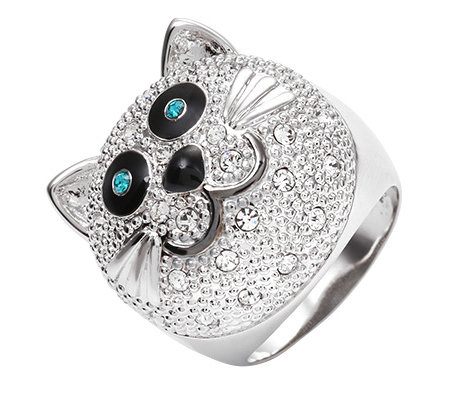 LONDON COLLECTION Ring 35 Kristalle Katze rhodiniert