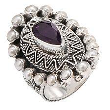 SANDRA SINGH Amethyst 1,30ct Perl Entourage-Ring Silber 925