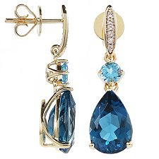 ITINGA Topas Londonblue 6,40ct Swissblue 0,70ct Ohrstecker Gold 375