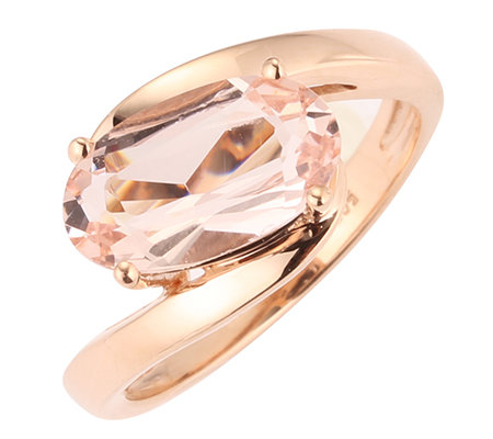 Morganit AAA/2,25ct Ovalschliff Croisé-Ring Roségold 585