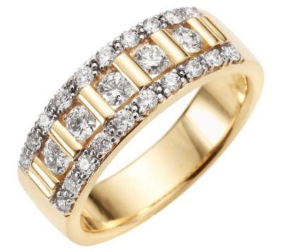 25 Brillanten zus.ca.0,75ct. Weiß/lupenrein Cocktail-Ring Gold 585