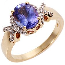 1st Class Tansanit AAA/1,75ct 26 Brill.0,13ct Ring Gold 750