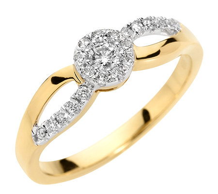 FIRST DIAMOND 20 Brillanten zus.ca.0,25ct. Ring Gold 333