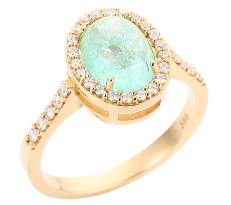 Paraiba Turmalin Ovalschliff 2,00ct. 32 Brillanten 0,35ct. Entourage-Ring Gold 585