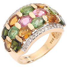 Turmalin 5,36ct Ovalschliff 26 Saphire 0,30ct Ring Gold 585