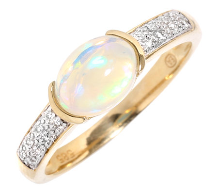 Afrikanischer Opal 0,70ct. Brillanten 0,05ct. Ring, bicolor Gold 585