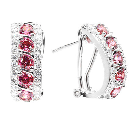 DIAMONIQUE® WILD BERRY = 1,48ct Stecker-Clips Silber rhodiniert
