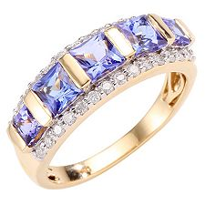 1st Class Tansanit AAA/1,41ct 28 Brill. 0,28ct Ring Gold 750