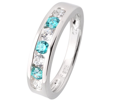DIAMONIQUE® CARIBBEAN BLUE 7 Steine =0,49ct. Eternity-Ring Silber 925,rhodiniert