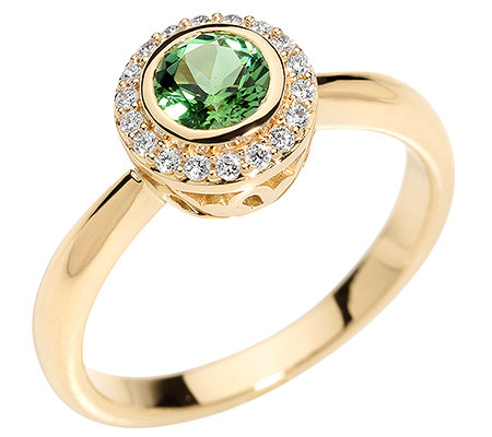 Turmalin Rundschliff 18 Brillanten 0,15ct. Entourage-Ring Gold 585