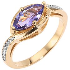 1st Class Tansanit AAA / 1,00ct 18 Brill. 0,08ct Navette-Ring Gold 750