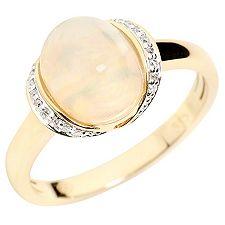 Afrikanischer Opal 1,40ct 18 Brill.0,05ct Ring Gold 585