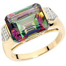 Mystic Fire Topas 6,30ct Diamanten 0,07ct Ring Gold 375