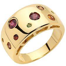 Granatschmuck Multicolor Rundschliff Ring Silber vergoldet