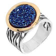 Edelsteindrusen Kobaltblau rund 12mm Ring Silber bicolor