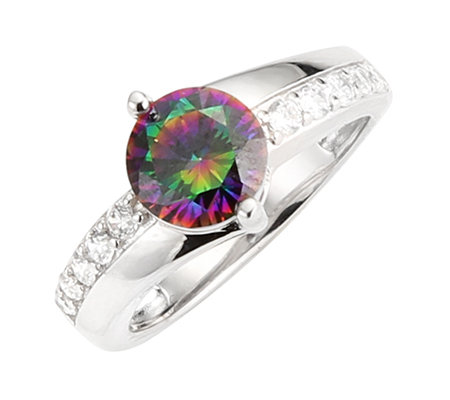 DIAMONIQUE® MYSTIC FIRE = 2,01ct Rivière-Ring Silber rhodiniert