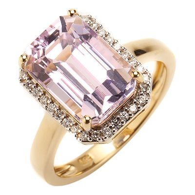 Galileia Kunzit Oktagonschliff 4,40ct 32 Brillanten 0,12ct Entourage-Ring Gold 585