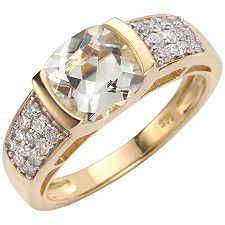 Cumaru Aquamarin Kissenschliff 1,70ct 24 Brill. 0,38ct Ring Gold 585