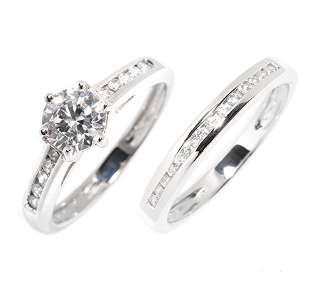 DIAMONIQUE® EPIPHANY 25 Steine= 1,19ct. 2tlg.Ring-Set Silber 925