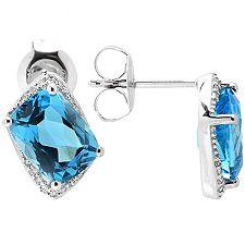 Beh.Blautopas Kissenschliff 2,75ct. 32 Diamanten 0,08ct. Ohrstecker Weissgold 375