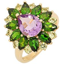 Multicolor Schliffmix 3,70ct. Krappenfassungen Ring Gold 375