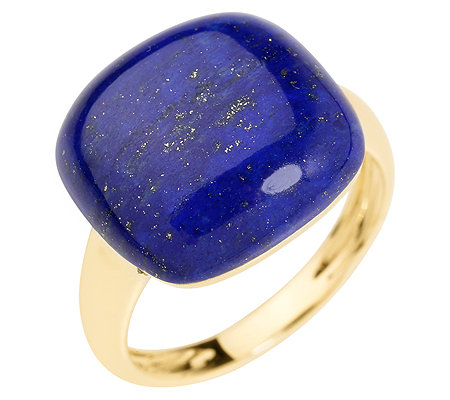 Golden Lapislazuli Kissenschliff 15x15mm Ring Gold 333