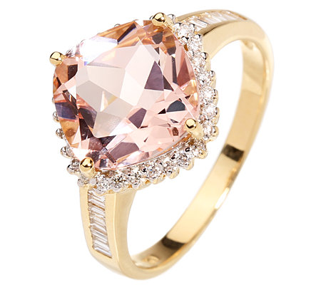 Morganit 3,50ct. Kissenschliff 42 Diamanten 0,25ct. Cocktail-Ring Gold 750