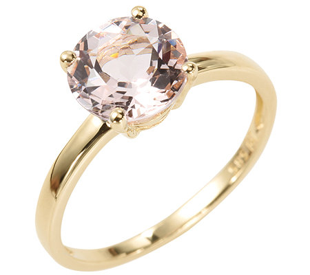 Morganit AAA/1,40ct rund facettiert Solitär-Ring Gold 585