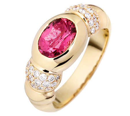 Turmalin 1,10ct. Ovalschliff 36 Brillanten 0,40ct. Ring Gold 585